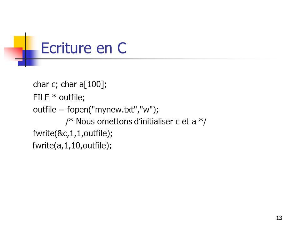 Ecriture en C char c; char a[100]; FILE * outfile;